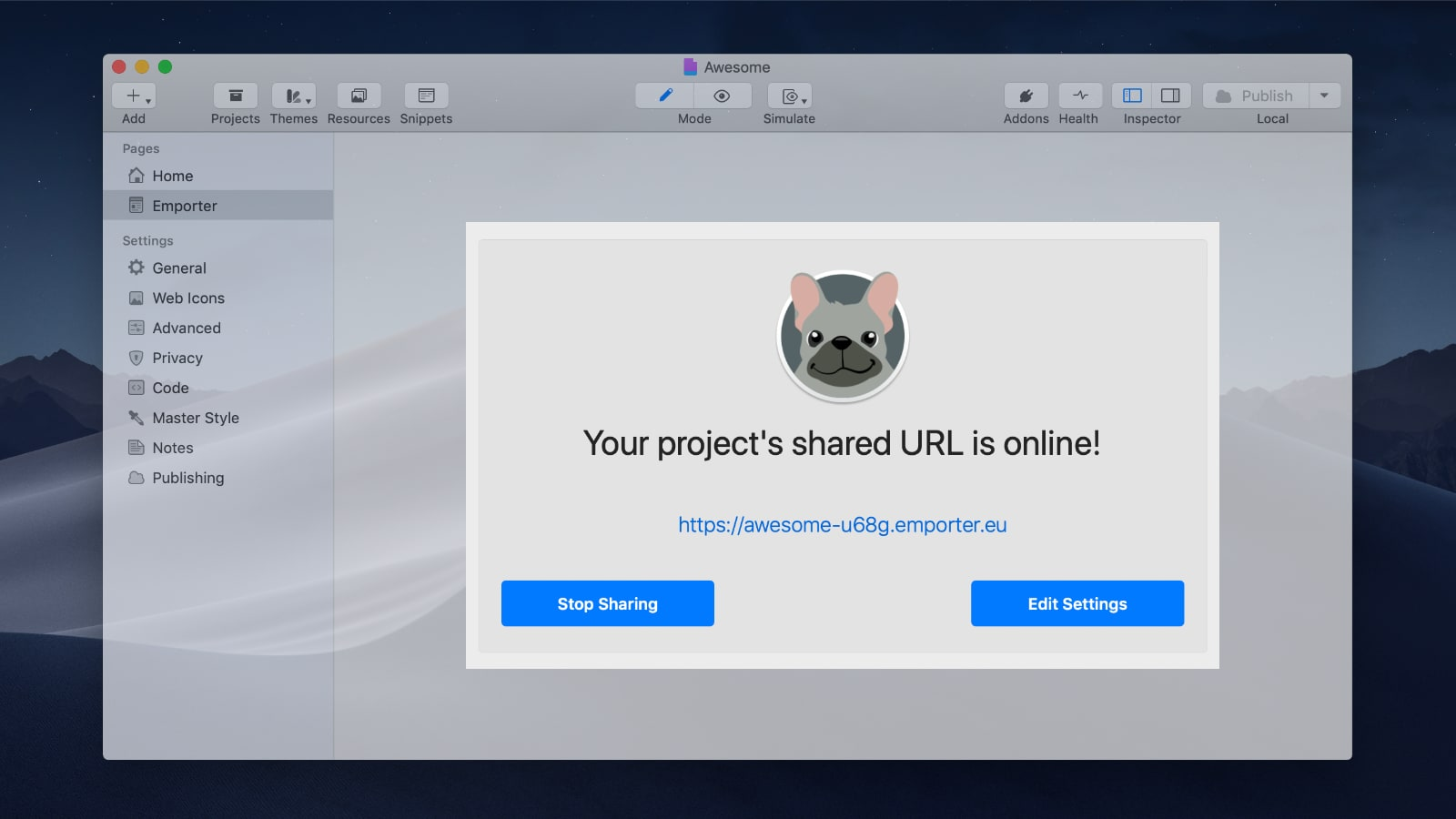 Live Share your RapidWeaver project anywhere, instantly